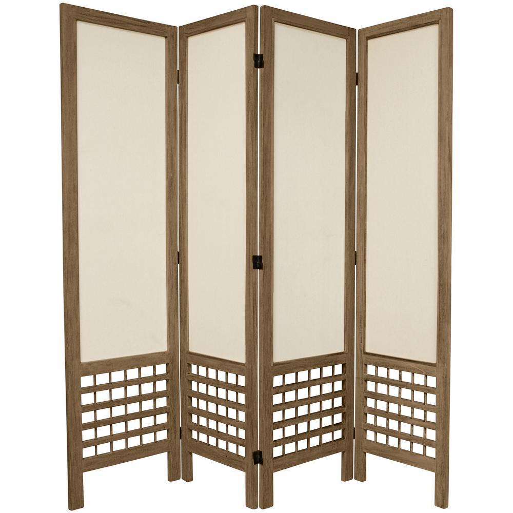 Oriental Furniture 6 Ft. Burnt Grey Open Muslin 4 Panel Room Divider