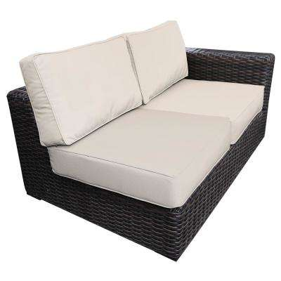 Santa Monica Patio Wicker Left Arm Outdoor Sectional Chair with Fabric Tan Cushion