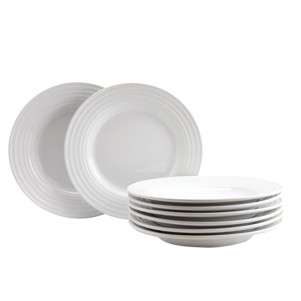 GIBSON HOME Plaza Cafe 8.5 in. White Dessert Plate Set (Set of 8 ...