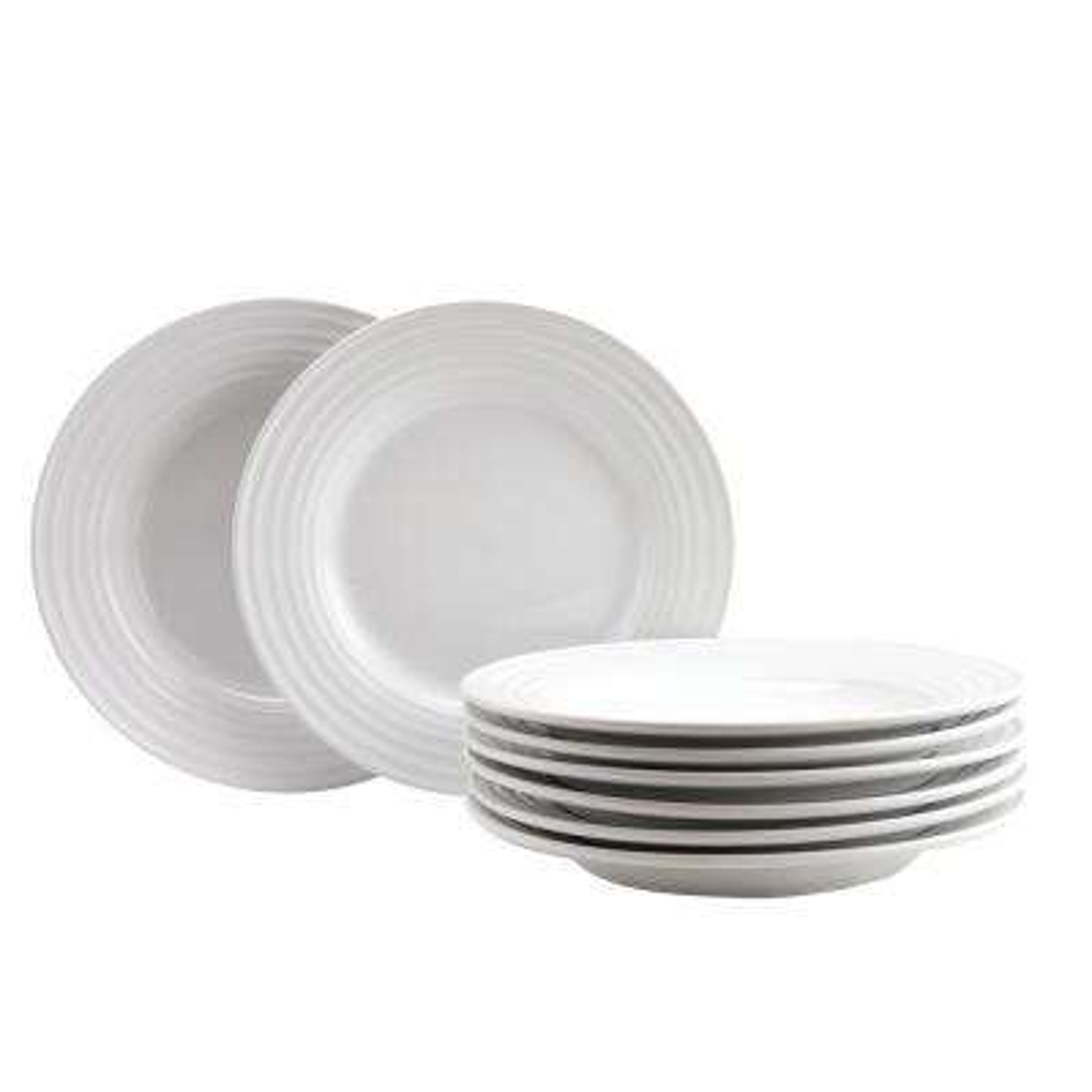 Plaza Cafe 8.5 in. White Dessert Plate Set (Set of 8)