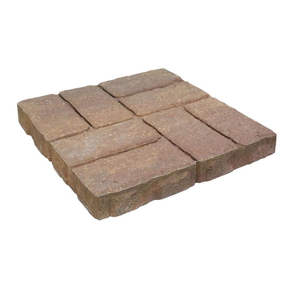 Weathered Brick 16 in. x 16 in. Tan/Charcoal Concrete Step Stone