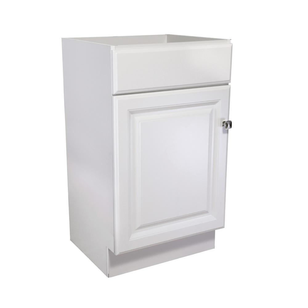 Wyndham 18 in. Unassembled 1-Door Bath Vanity Cabinet Only, White