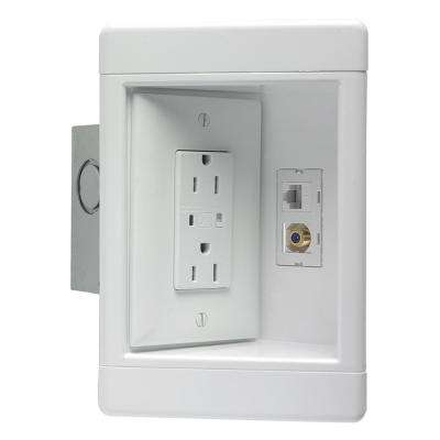 Plastic White 1-Gang Recessed TV Box with Metal Electrical Box
