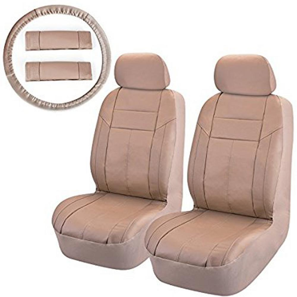 Seat Covers For Trucks >> 47 In X 23 In X 1 In Pu Front Seat Covers Universal Fit Suv Truck Or Van In Beige 8 Piece