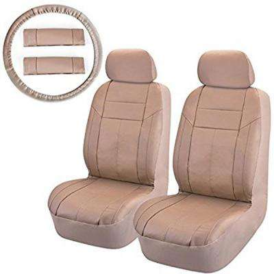 47 in. x 23 in. x 1 in. PU Front Seat Covers Universal fit SUV Truck or Van in Beige (8-Piece)