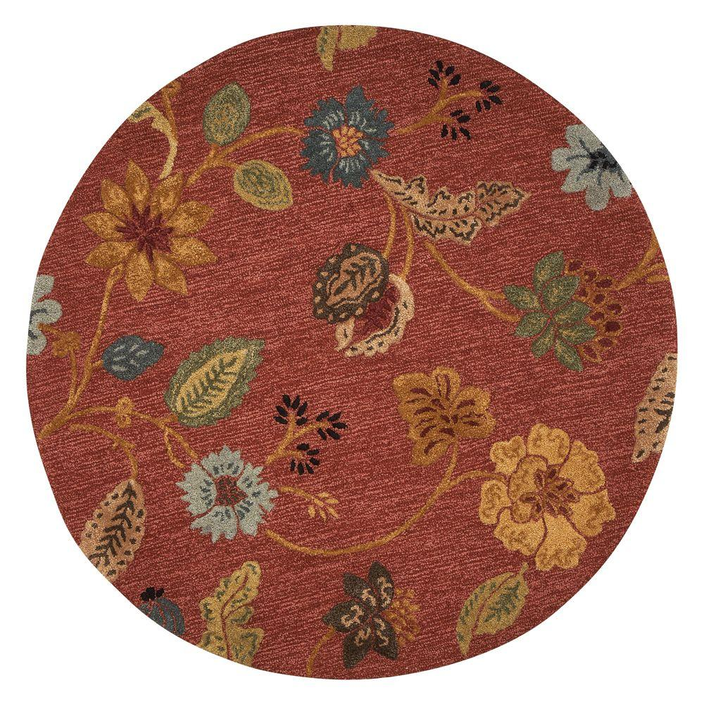 Home Decorators Collection Portico Red 5 ft. 9 in. Round Area Rug
