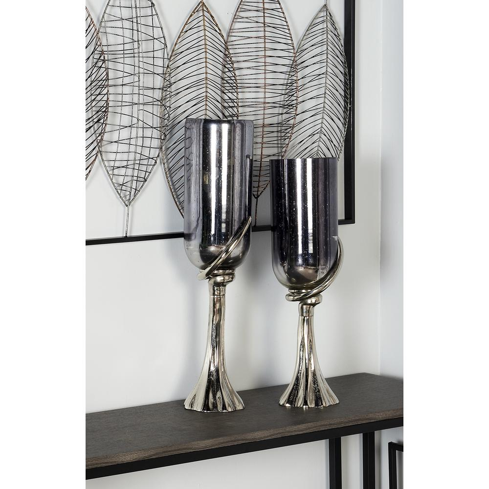 26 in. Black Glass Chalice Candle Holder with Silver Aluminum Base