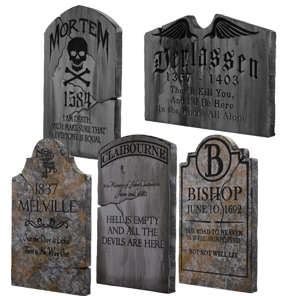 24 in. x 14 in. halloween yard tombstones (5-pack)-tsfog5 - the home