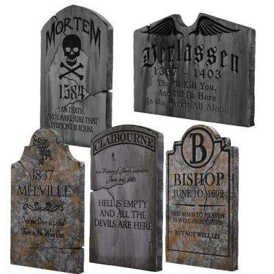 24 in. x 14 in. Halloween Yard Tombstones (5-Pack)
