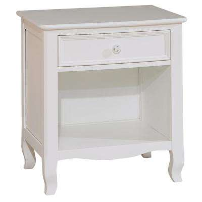 Emma 1-Drawer White Nightstand