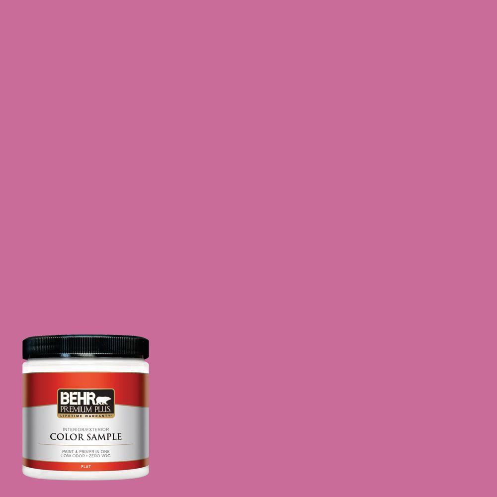 BEHR Premium Plus 8 oz. #100B-6 Fuchsia Kiss Zero VOC Interior/Exterior Flat/Matte Paint Sample