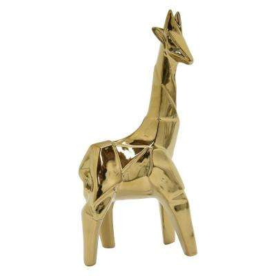 11.75 in. Porcelain-Ceramic Ceramic Giraffe-Gold Finished in Gold