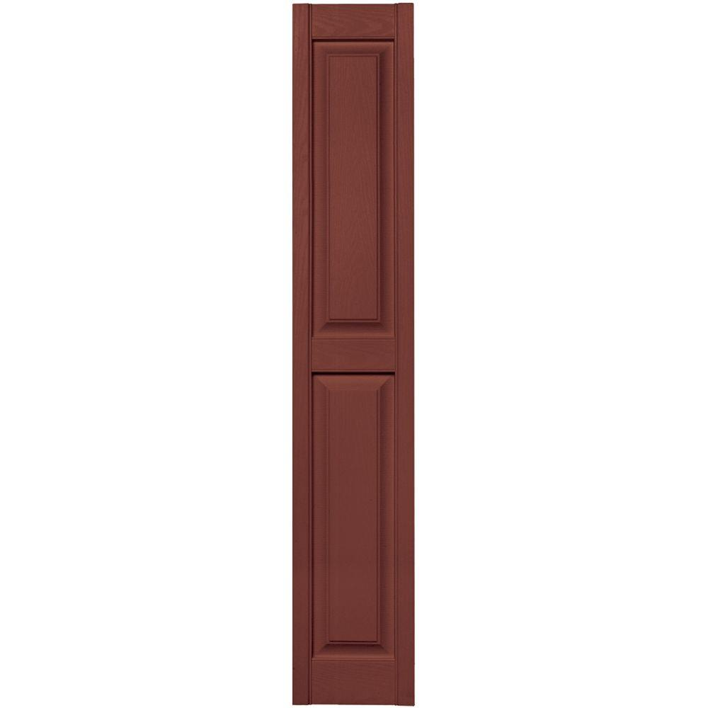 Builders Edge 12 in. x 67 in. Raised Panel Vinyl Exterior Shutters Pair in #027 Burgundy Red