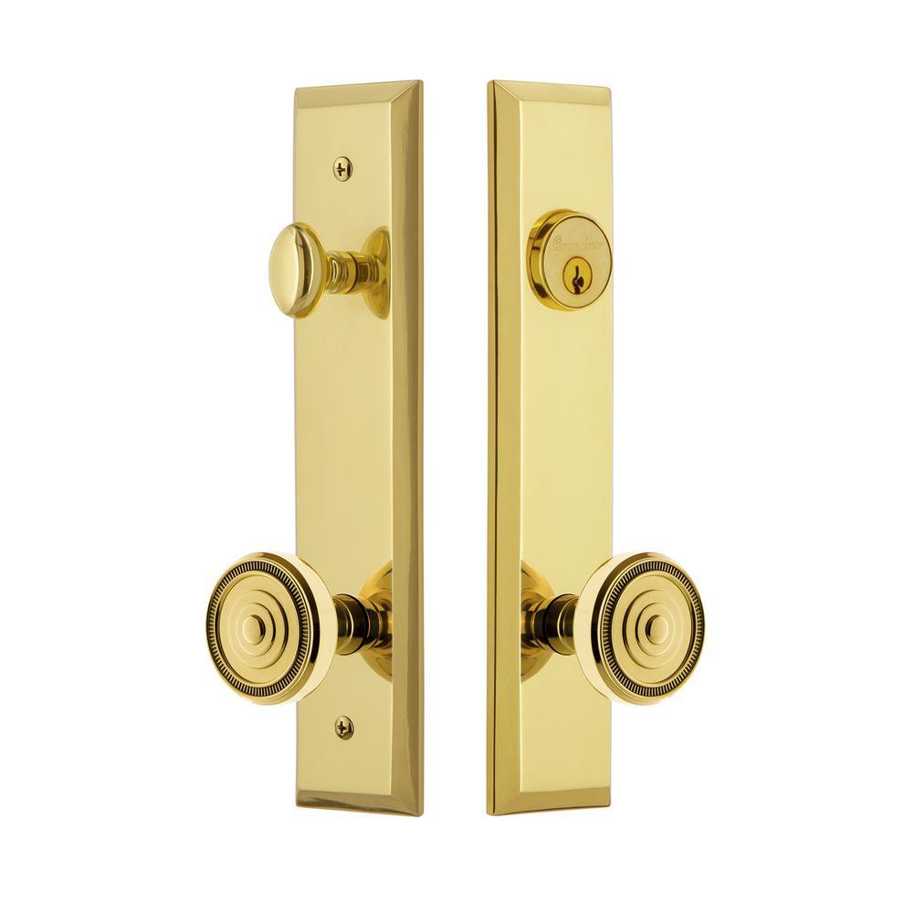 Fifth Avenue Tall Plate 2-3/4 in. Backset Lifetime Brass Door Handleset with Soleil Door Knob