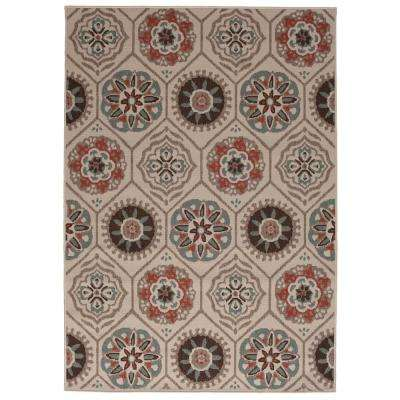 Medallion Multi 5 ft. 3 in. x 7 ft. 4 in. Indoor/Outdoor Area Rug