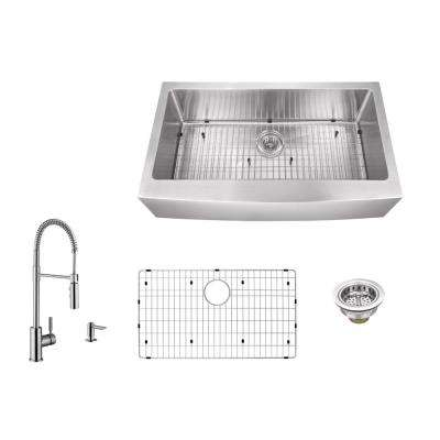 Apron Front 36 in. 16-Gauge Stainless Steel Single Bowl Kitchen Sink in Brushed Stainless with Pull Out Kitchen Faucet