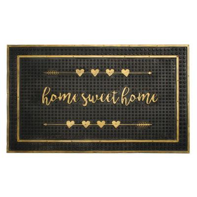 Gold 18 in. x 30 in. Home Sweet Home Hearts Rubber Doormat