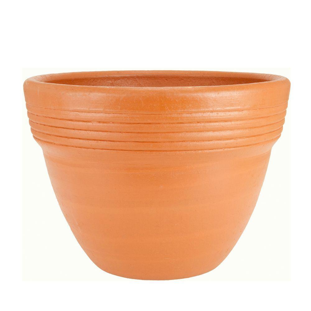 PR Imports 16 in. Round Terra Cotta Wide-Rimmed Clay Pot