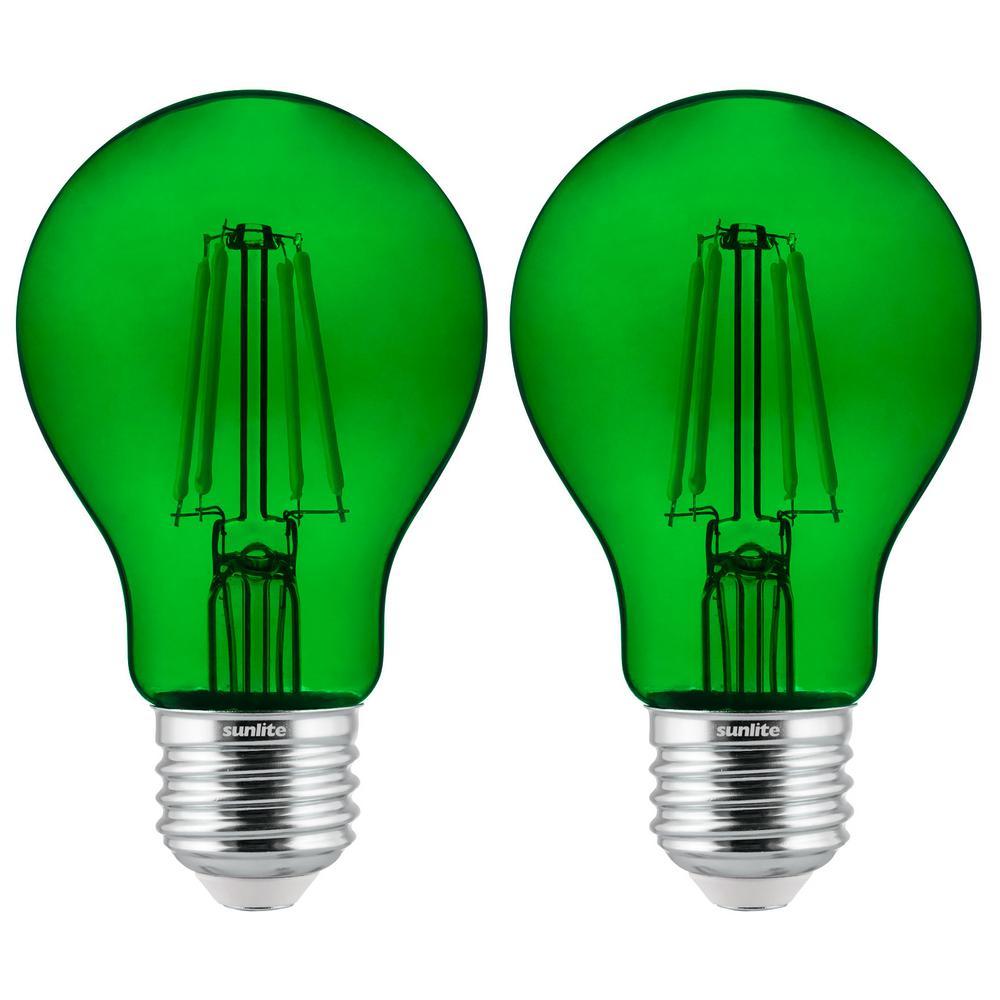 60-Watt Equivalent A19 Dimmable Filament E26 Medium Base LED Light Bulb in Green (2-Pack)