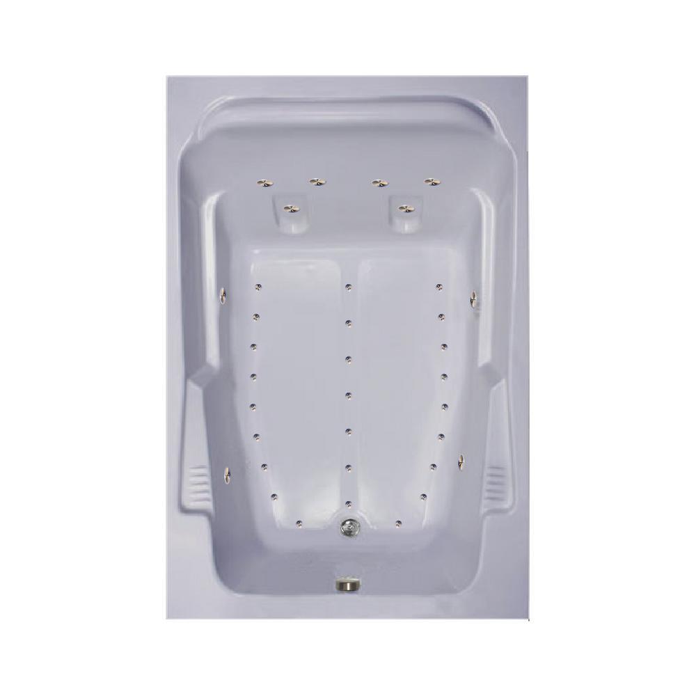 72 in. Acrylic Rectangular Drop-in Air Bath Bathtub in Sterling Silver
