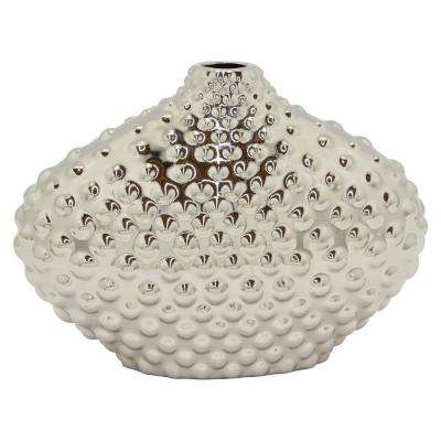 Textured Silver Ceramic Decorative Vase