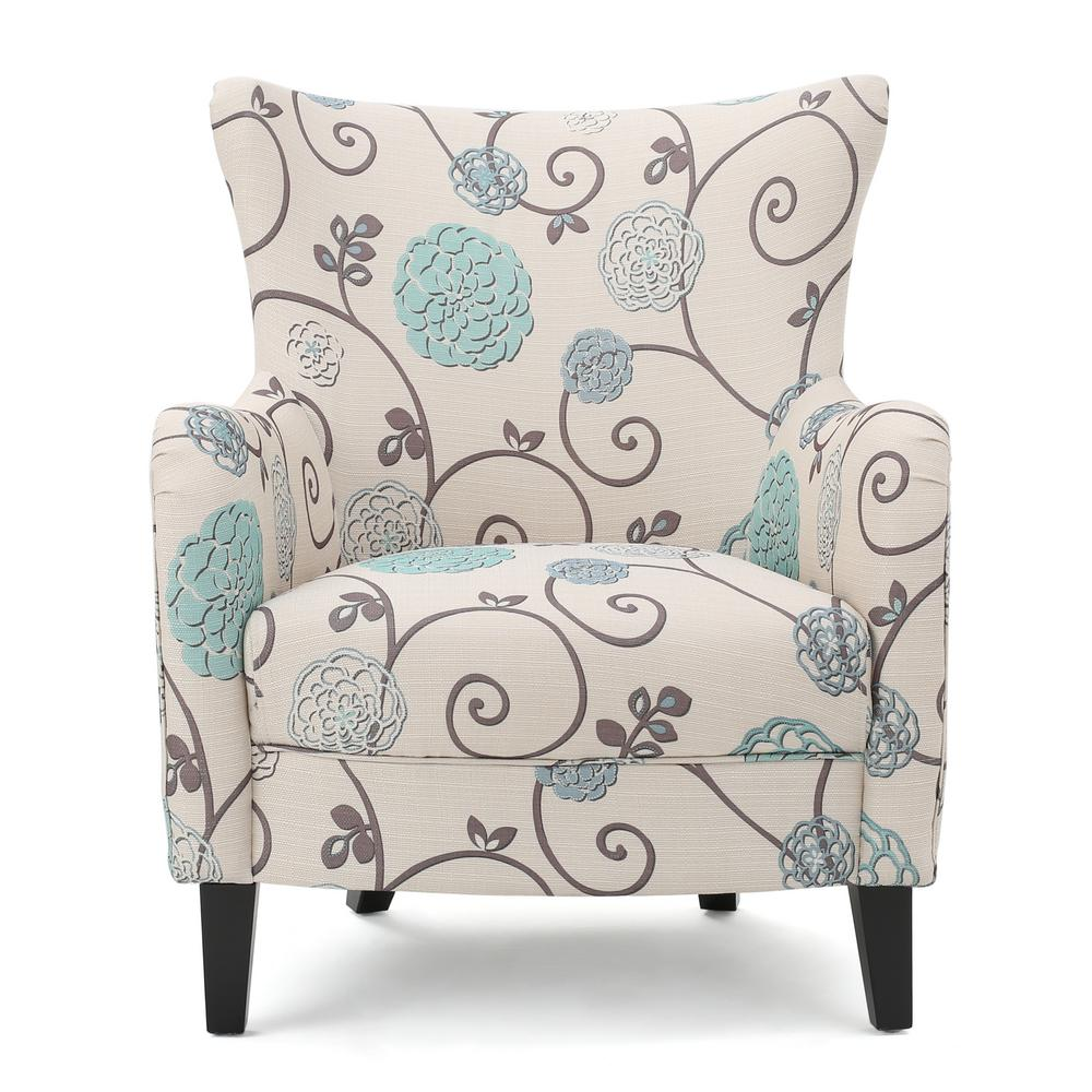 Noble House Arabella Multi-Colored Floral Fabric Club Chair