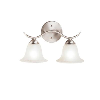 Dover 5 in. 2-Light Brushed Nickel Vanity Light with Seeded Glass Shade
