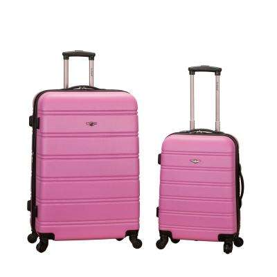Rockland Melbourne Expandable 2-Piece Hardside Spinner Luggage Set, Pink