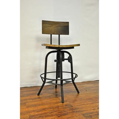 Adjustable Height Brown Bar Stool