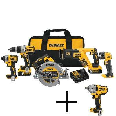 20-Volt MAX XR Lithium-Ion Cordless Combo Kit (5-Tool) with Batteries, Charger, Tool Bag and Free 1/2 in. Impact Wrench