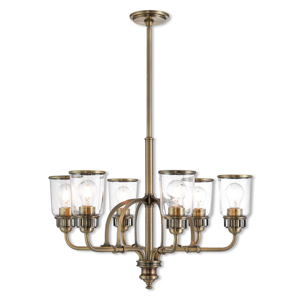 Livex lighting lawrenceville 6 light antique brass chandelier with hand blown clear seeded glass shades