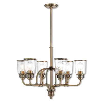 Lawrenceville 6-Light Antique Brass Chandelier with Hand Blown Clear Seeded Glass Shades