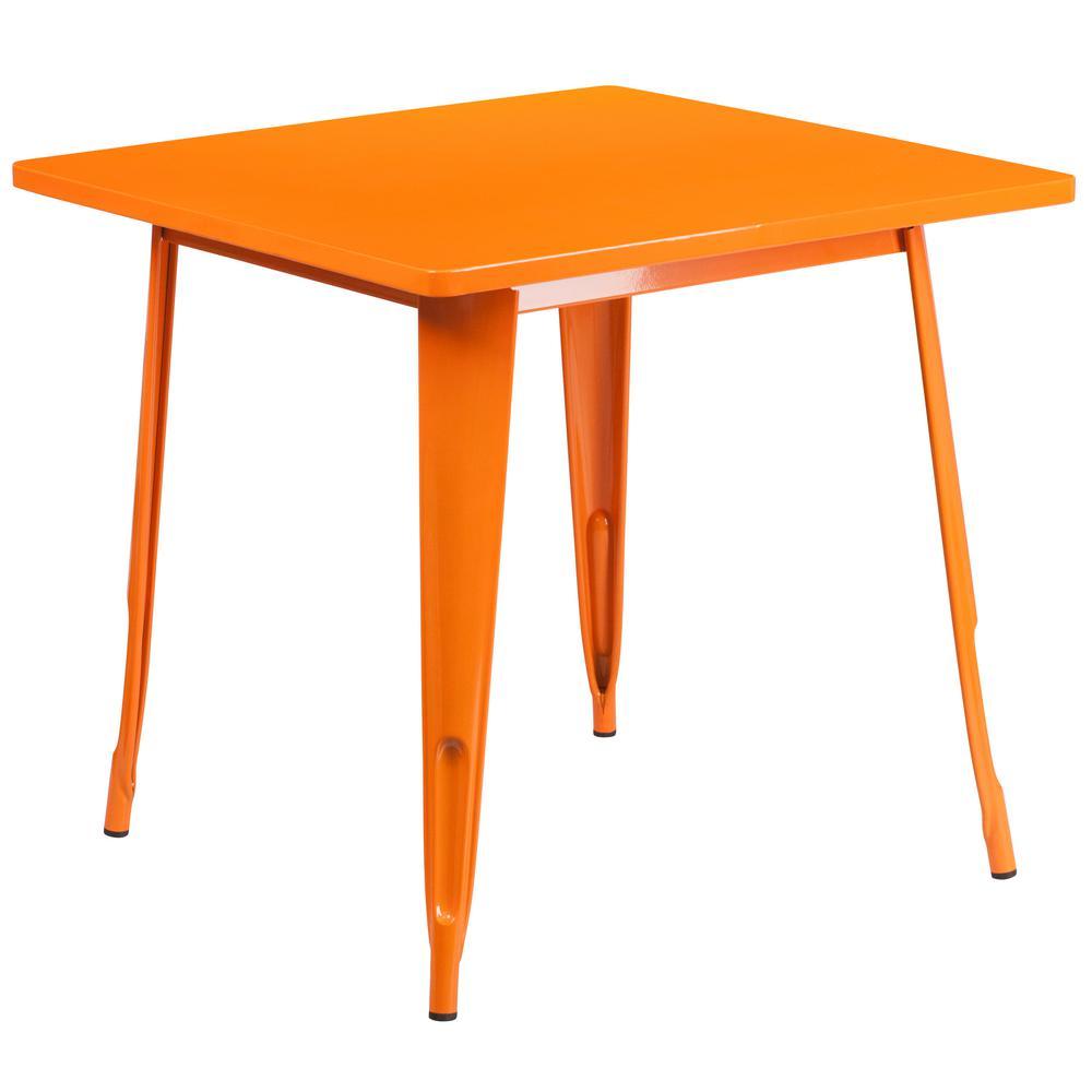 Orange Square Metal Outdoor Bistro Table