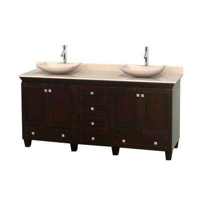 Acclaim 72 in. W Double Vanity in Espresso with Marble Vanity Top in Ivory and Ivory Sinks