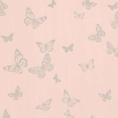 pearl blush butterfly wallpaper sample
