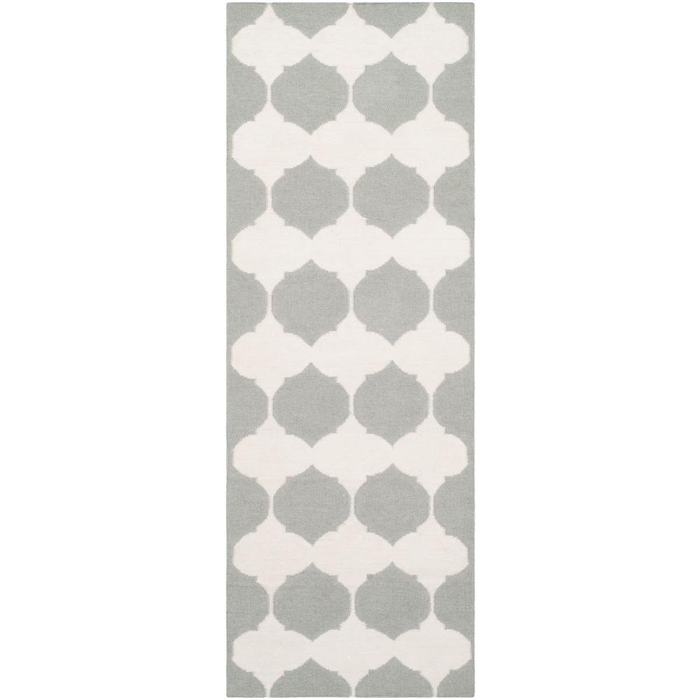 Dhurries Grey/Ivory 2 ft. 5 in. x 7 ft. Runner