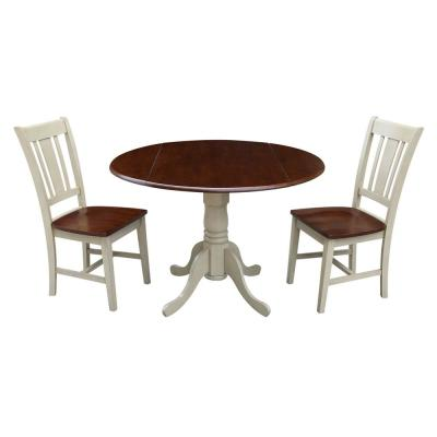 Brynwood 3-Piece 42 in. Almond/Espresso Round Drop-Leaf Wood Dining Set with San Remo Chairs