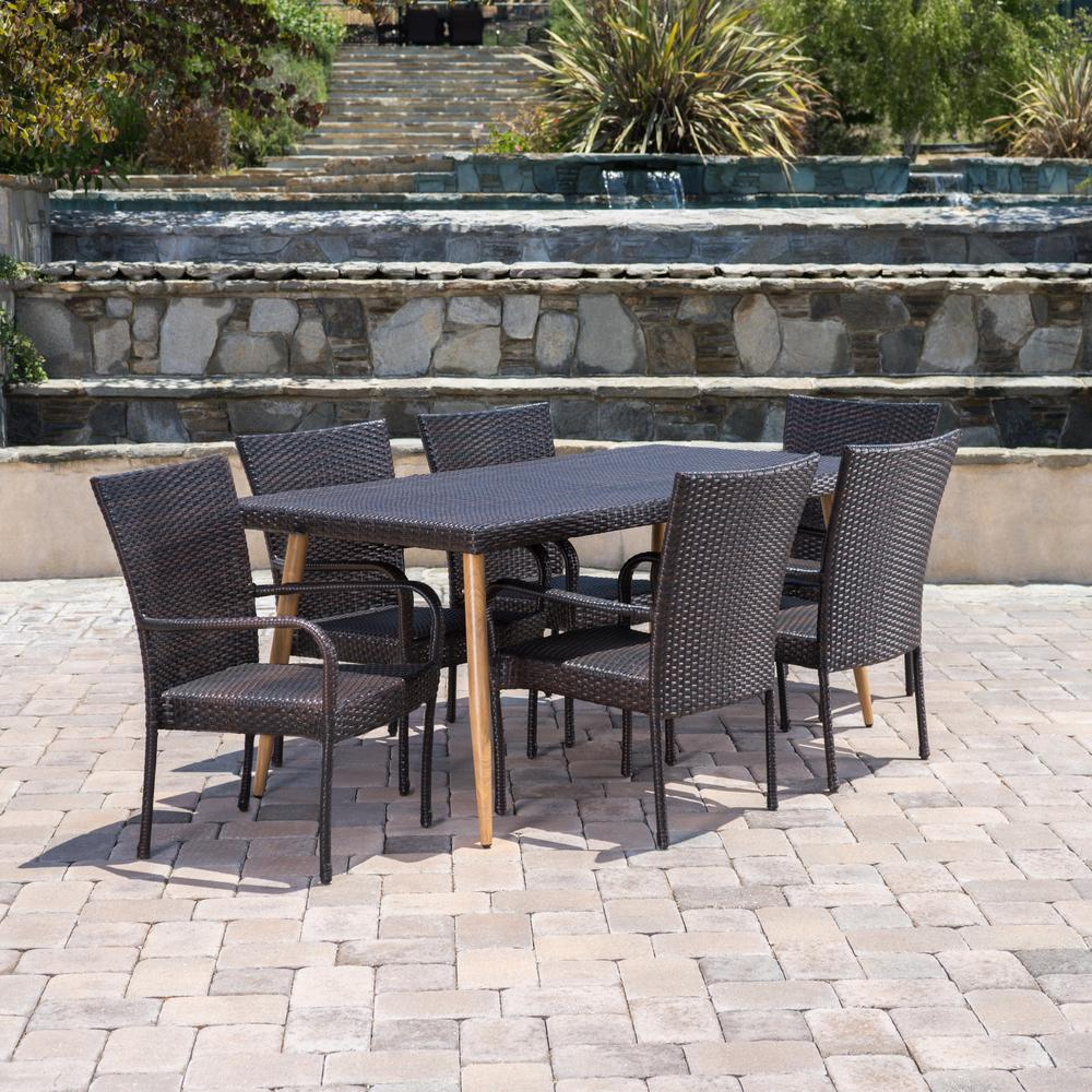 Noble House Cabrillo Multi Brown 7 Piece Wicker Outdoor Dining Set 16939 The Home Depot