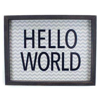 "13.37 In. W x 13.37 In. H Blue ""Hello World"" by JLB Framed Printed Wall Art"