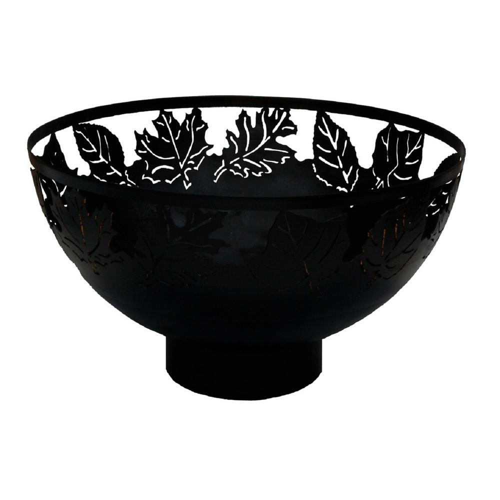 Autumn Leaves 32 in. x 17 in. Round Steel Wood Fire