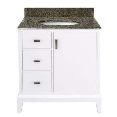 Shaelyn 31 in. W x 22 in. D Bath Vanity in White LH with Granite Vanity Top in Quadro with White Basin