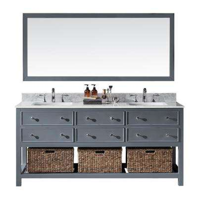 Elodie 72 in. W x 22 in. D x 34.21 in. H Bath Vanity in Cashmere Grey With White Marble Top With White Basins and Mirror