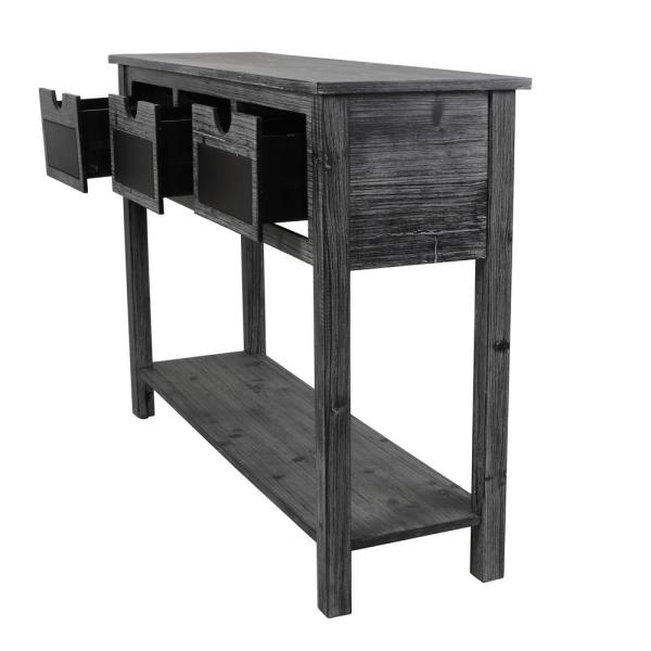 Decor Therapy Rowan 45 In Chalkboard Weathered Standard Rectangle Wood Console Table With Drawers Fr8685 The Home Depot