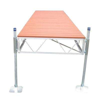 16 ft. Straight Roll-in Dock with Brown Aluminum Decking