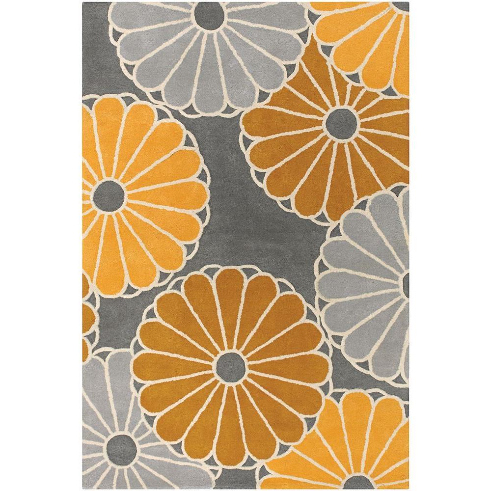 Chandra Thomaspaul Grey/Brown/Yellow/Cream 5 ft. x 7 ft. 6 in. Indoor Area Rug
