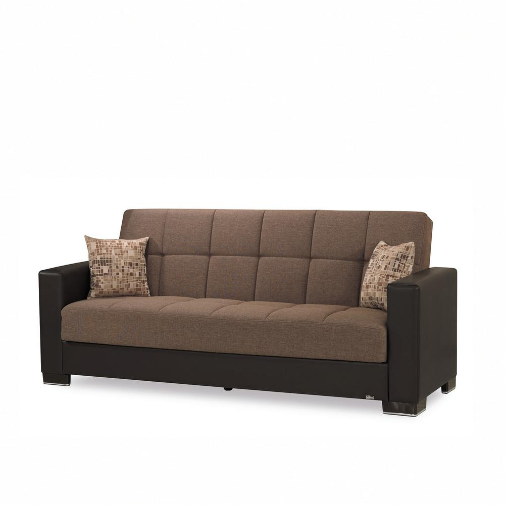 Armada Brown Fabric Upholstery Sofa Sleeper Bed with Storage