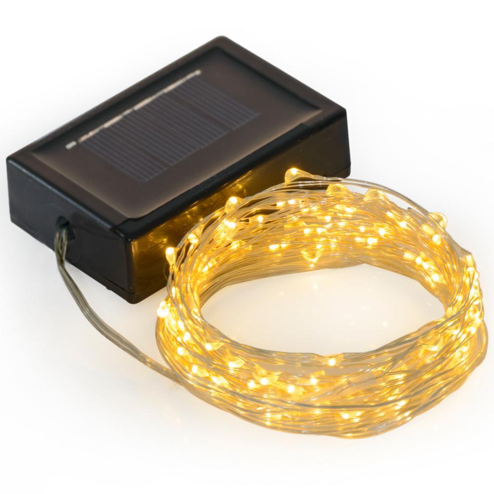 69 ft. 200-LED Integrated LED Solar Copper String Light