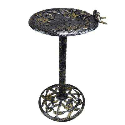34 in. Tall Handmade Silver, Black, Gold Cast Aluminum Metal Bird Bath with Twin Singing Birds