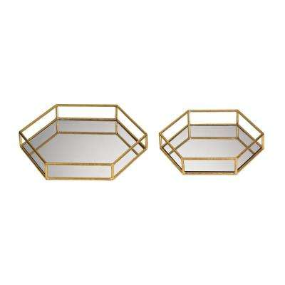14 in. x 12 in. and 11 in. x 10 in. Mirrored Hexagonal Decorative Trays (Set of 2)