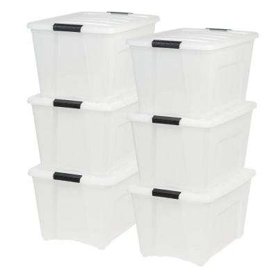 53 Qt Stack & Pull Storage Lidded Container Box Bin System, Pearl (6 Count)